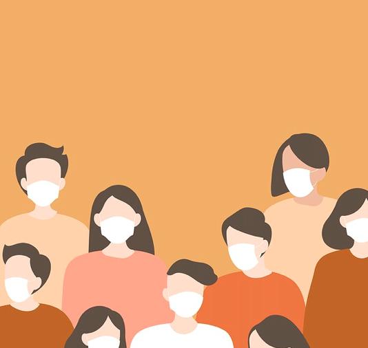 Illustration of group of people wearing masks